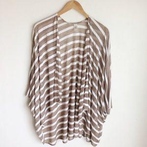 Mixit Striped Open Front Kimono Jacket One Sz  B